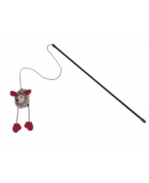 Въдица с плюшена мишка със звук - NOBBY Германия - 50 см / 6 см - Аксесоари за котки